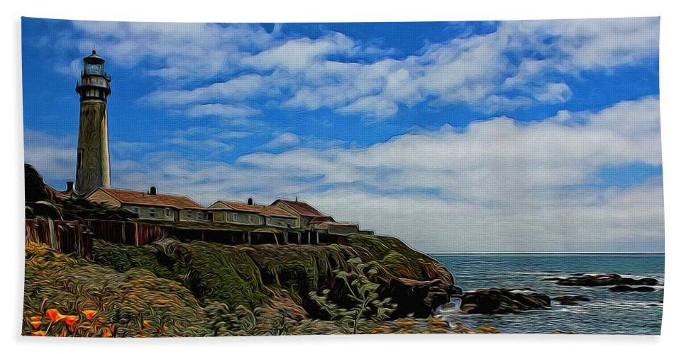 Pigeon Point Bath Sheet featuring the photograph Pigeon Point Lighthouse Painted by Judy Vincent