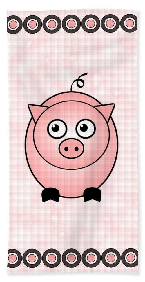 Pig Bath Sheet featuring the digital art Piggy - Animals - Art For Kids by Anastasiya Malakhova
