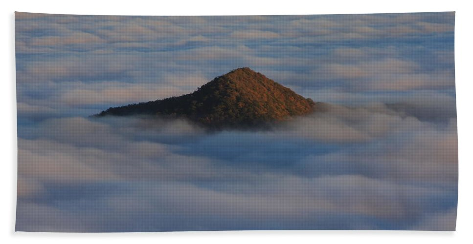Pilot Mountain Bath Sheet featuring the photograph Pilot Mountain Shrouded In Fog-blue Ridge Parkway by Mountains to the Sea Photo