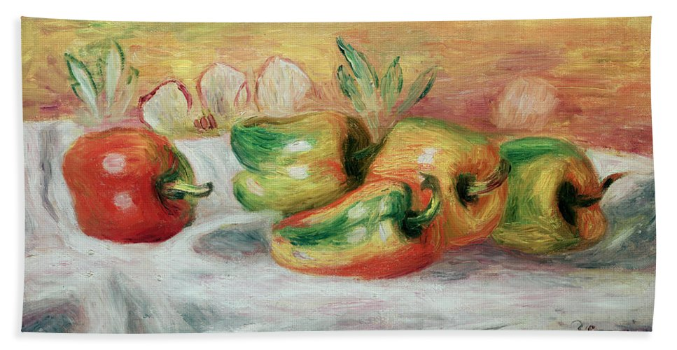 Pimento Hand Towel featuring the painting Pimientos by Pierre Auguste Renoir