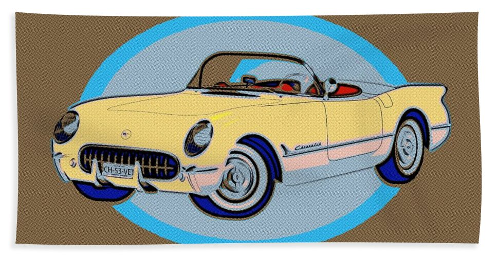 Pin Up Bath Sheet featuring the painting Pin Up Vette by Florian Rodarte
