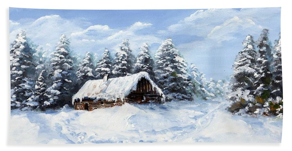 Pine Hand Towel featuring the painting Pine Forest In Winter by Edit Voros