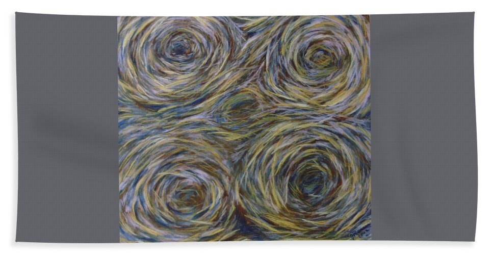 Pine Needles Bath Sheet featuring the pastel Pine Needle Squirrel Holes by Joann Renner