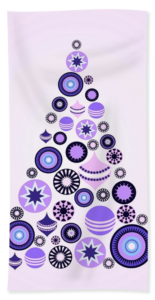 Interior Bath Sheet featuring the digital art Pine Tree Ornaments - Purple by Anastasiya Malakhova