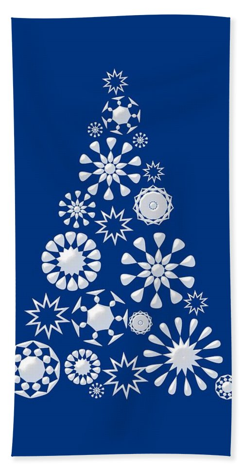 Interior Bath Sheet featuring the digital art Pine Tree Snowflakes - Dark Blue by Anastasiya Malakhova