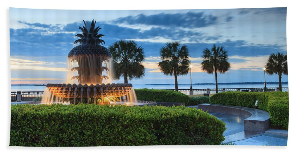 Pineapple Fountain Bath Sheet featuring the photograph Pineapple Fountain Charleston South Carolina Sc by Carol VanDyke