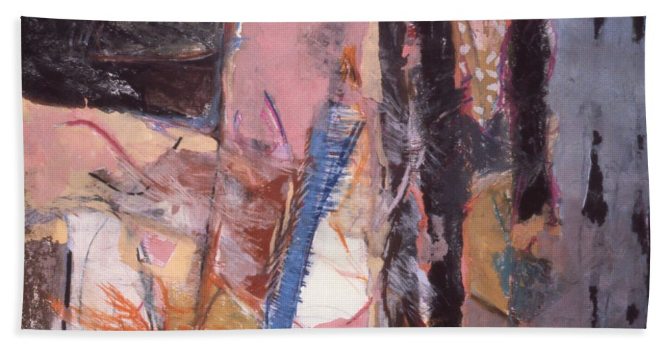 Abstract Hand Towel featuring the mixed media Pink And Black by Richard Baron