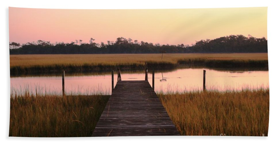 Pink Bath Towel featuring the photograph Pink And Orange Morning On The Marsh by Nadine Rippelmeyer