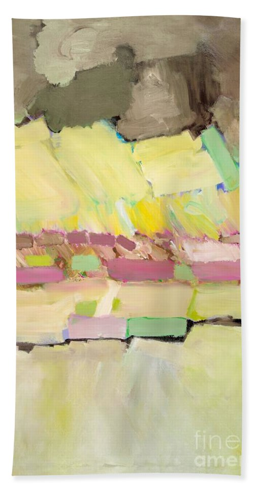 Landscape Bath Sheet featuring the painting Pink And Yellow by Allan P Friedlander