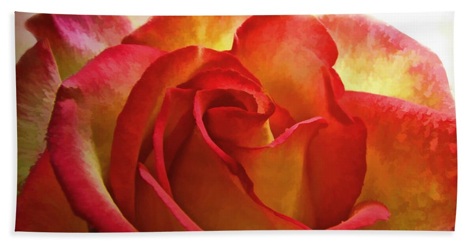 Dew Hand Towel featuring the photograph Pink And Yellow Rose - Digital Paint by Debbie Portwood