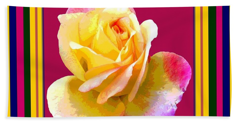 Computer Graphics Bath Sheet featuring the photograph Pink And Yellow Rose by Marian Bell