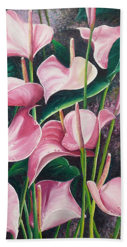 Floral Flowers Lilies Pink Hand Towel featuring the painting Pink Anthuriums by Karin Dawn Kelshall- Best