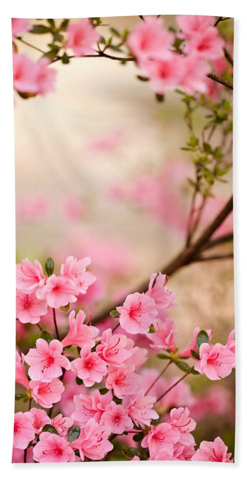 Flowers Hand Towel featuring the photograph Pink Azalea Bush by Leslie Banks