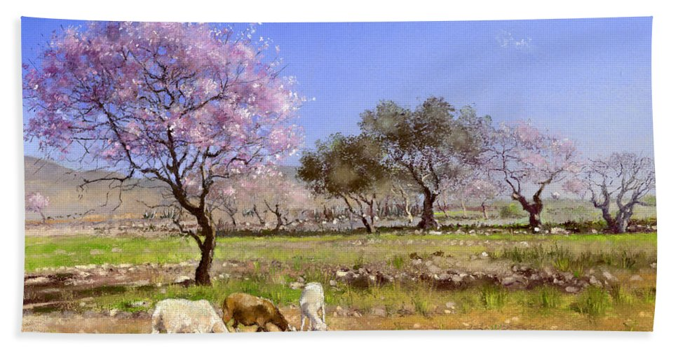 Landscape Bath Sheet featuring the painting Pink Blossom by Margaret Merry