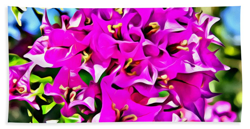 Flowers Hand Towel featuring the photograph Pink Bouganvilla by Alice Gipson