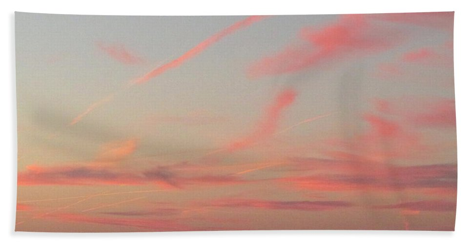 Blue Sky Pink Clouds Pink Cloud Skyscape Pink Cloudscape Colorful Sky Sunsets Sundown Bath Sheet featuring the photograph Pink Cloudscape by Joshua Bales