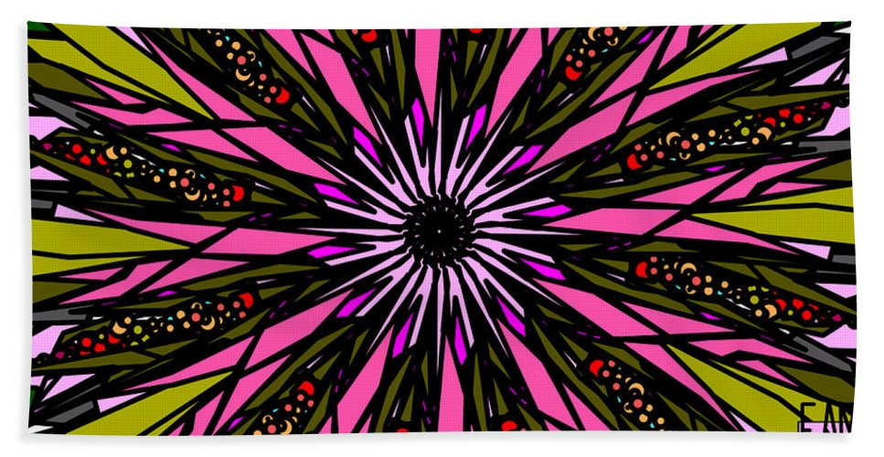 Pink Explosion Bath Sheet featuring the digital art Pink Explosion by Elizabeth McTaggart