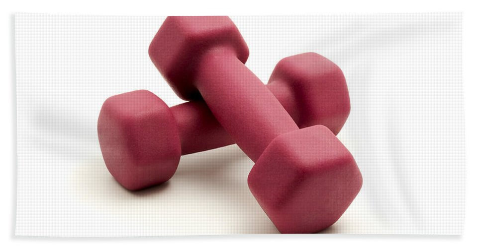 White Background Bath Sheet featuring the photograph Pink Fixed-weight Dumbbells by Fabrizio Troiani