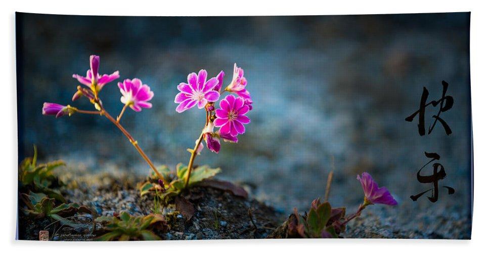 Van Dusen Garden Hand Towel featuring the photograph Pink Flower With Inkbrush Calligraphy Joyfulness by Peter v Quenter
