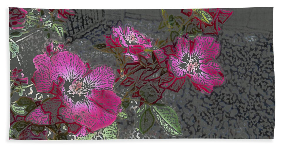 Flower Hand Towel featuring the digital art Pink Flowers by Lovina Wright