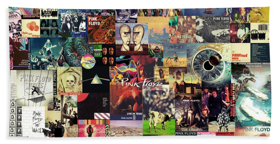 Pink Floyd Hand Towel featuring the digital art Pink Floyd Collage II by Zapista OU