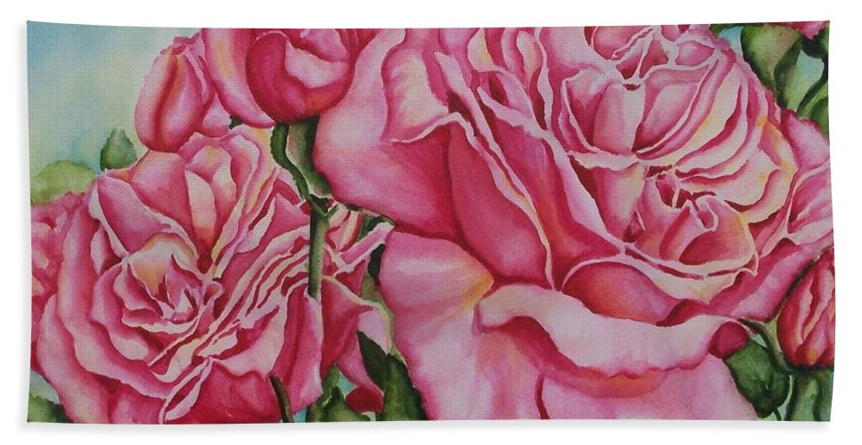 Rose Bath Sheet featuring the painting Pink Frillies by Conni Reinecke