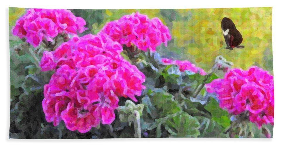 Kenny Francis Hand Towel featuring the photograph Pink Geraniums And Butterfly by Kenny Francis