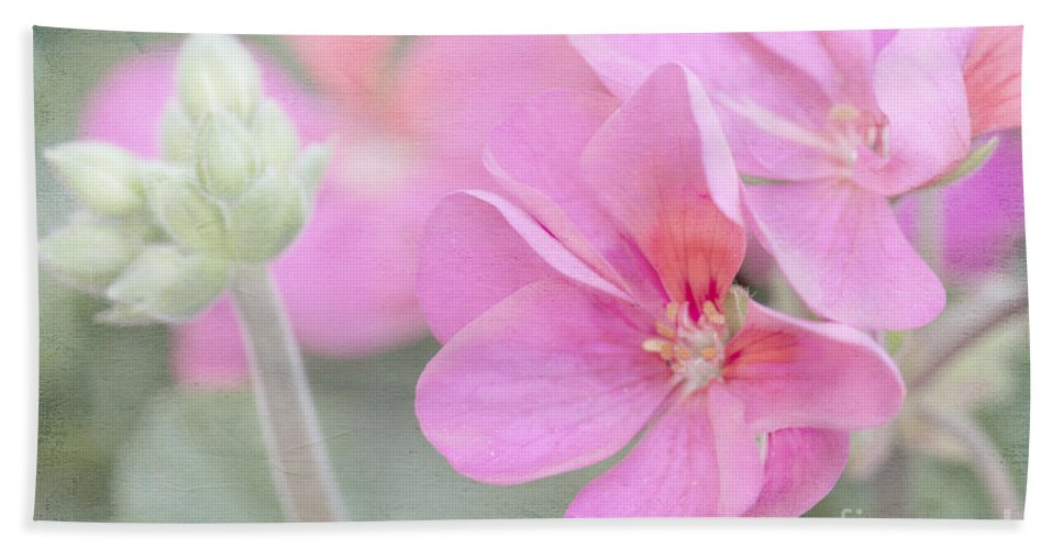 Geranium Bath Sheet featuring the photograph Pink Geraniums by Betty LaRue