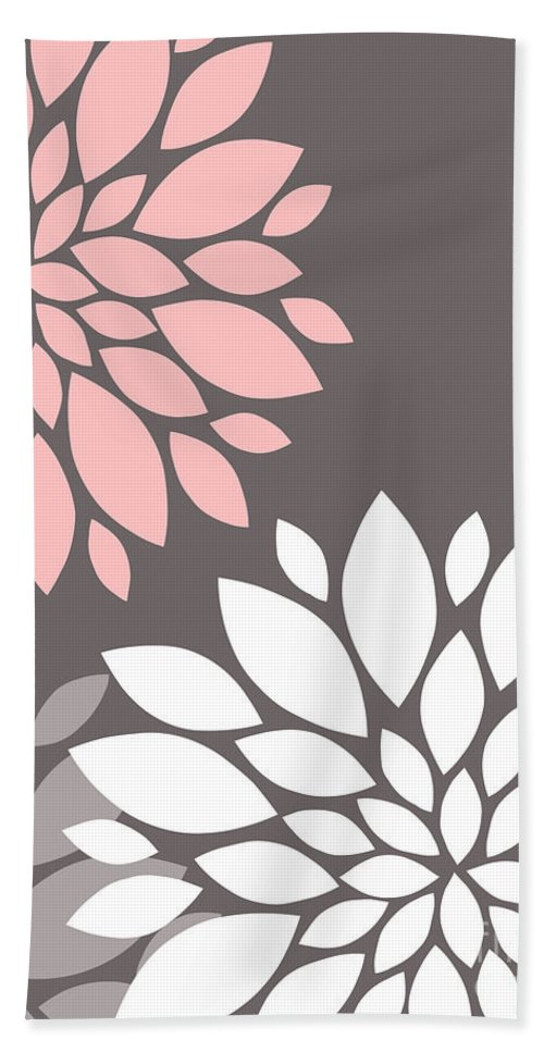 Pink Bath Sheet featuring the digital art Pink Grey White Peony Flowers by Voros Edit