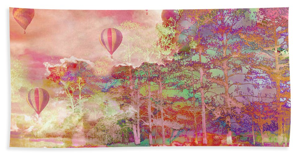 Hot Air Balloon Prints Hand Towel featuring the photograph Pink Hot Air Balloons Abstract Nature Pastels - Dreamy Pastel Balloons by Kathy Fornal