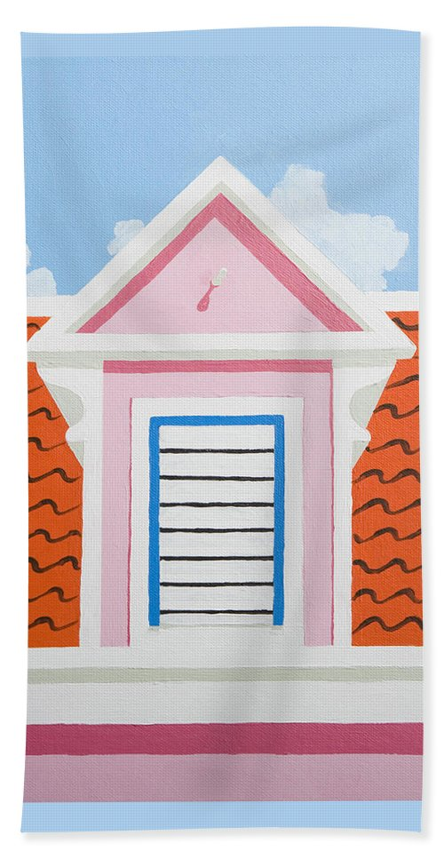Caribbean House Architecture Curacao Aruba Antilles Sun Pink Color Bath Towel featuring the painting Pink House by Trudie Canwood