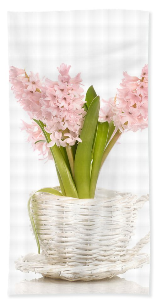 Hyacinth Hand Towel featuring the photograph Pink Hyacinths by Amanda Elwell