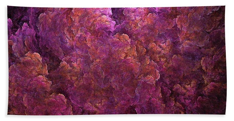 Hydrangea Hand Towel featuring the digital art Pink Hydrangea Fractal Blossoms by Doug Morgan