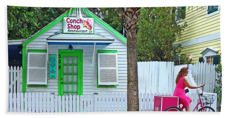 Key West Conch Shop Bath Sheet featuring the photograph Pink Lady And The Conch Shop by Rebecca Korpita