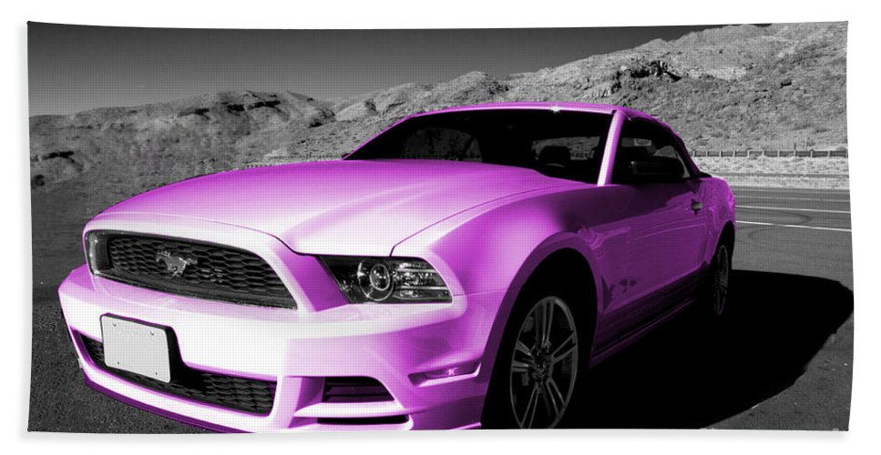 Ford Bath Sheet featuring the photograph Pink Mustang by Rob Hawkins
