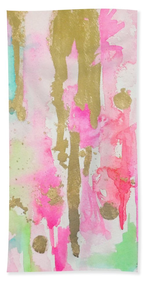 Abstract Painting Hand Towel featuring the painting Pink N Glam by Roleen Senic