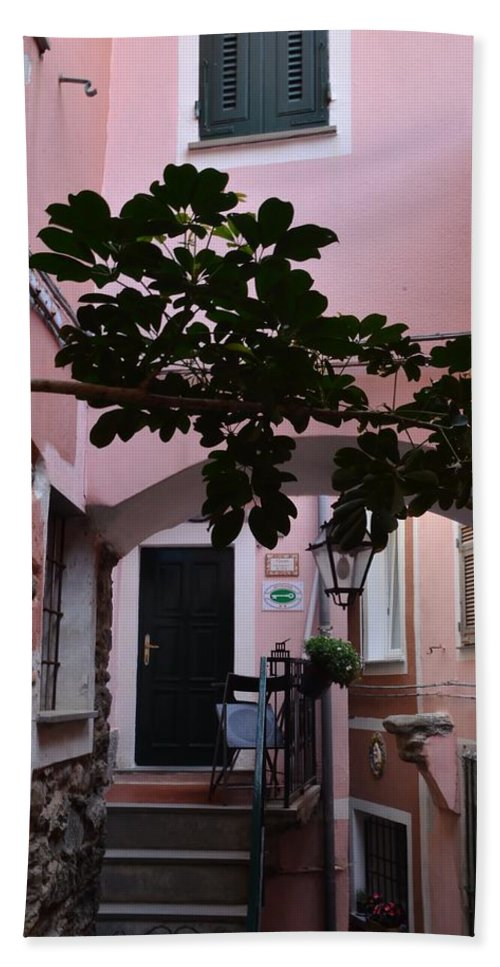 Pink Hand Towel featuring the photograph Pink Patio by Dany Lison