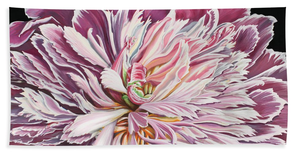 Flower Bath Towel featuring the painting Pink Peony by Jane Girardot