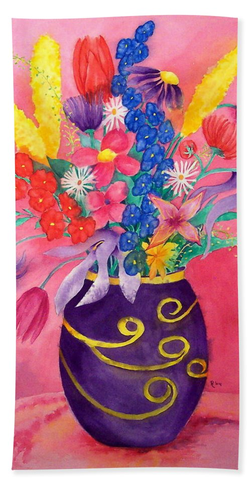 Pink Hand Towel featuring the painting Pink Persuasion by Rhonda Leonard