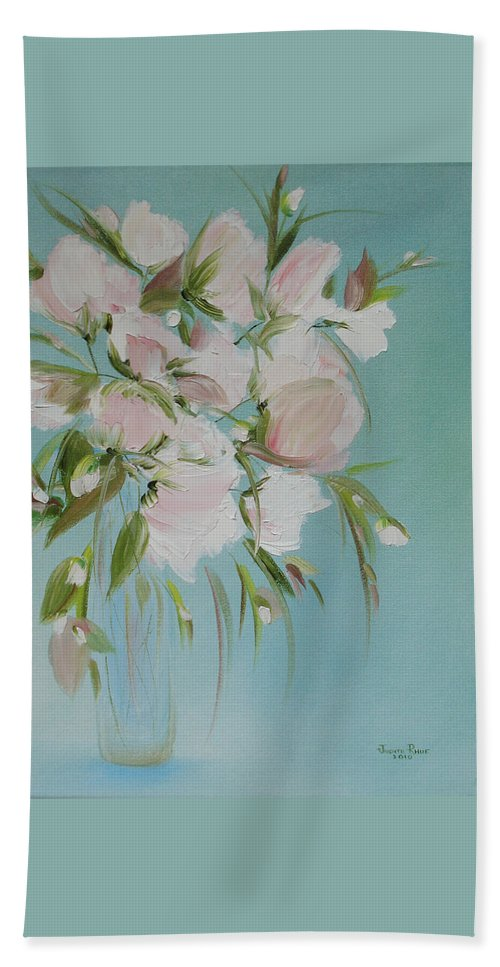 Flowers Bath Sheet featuring the painting Pink Petals by Judith Rhue