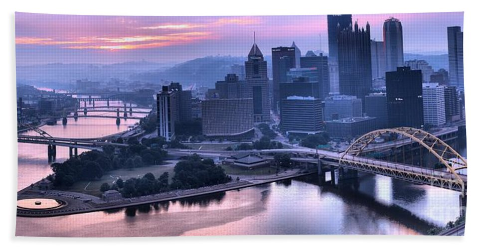Pittsburgh Panorama Bath Sheet featuring the photograph Pink Pittsburgh Morning by Adam Jewell