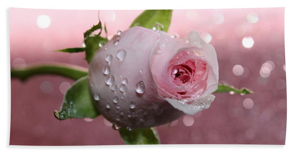 Rose Hand Towel featuring the photograph Pink Romance by Krissy Katsimbras