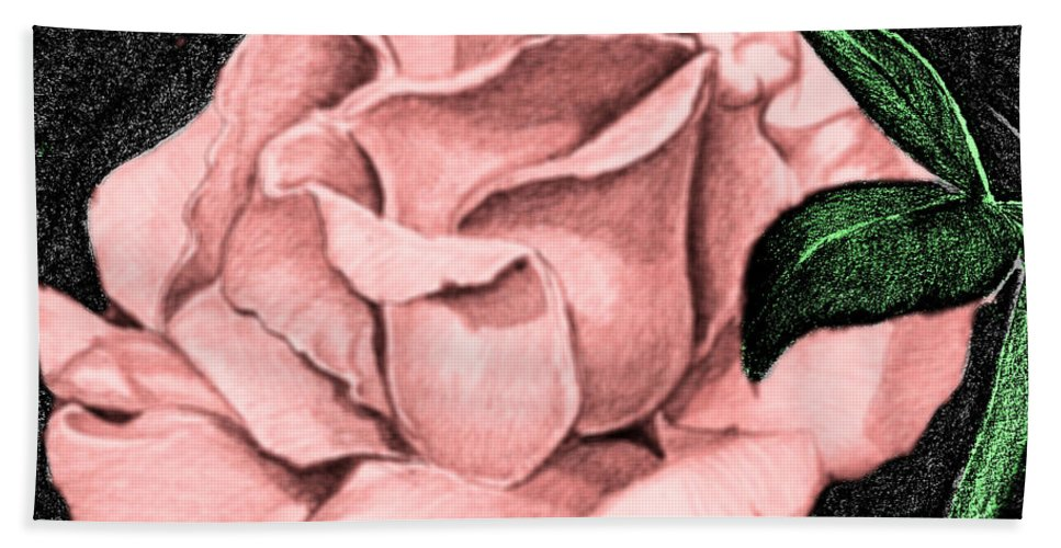 Rose Hand Towel featuring the drawing Pink Rose by Bill Richards