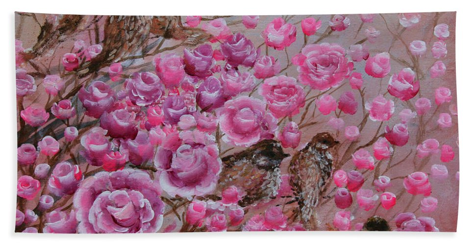 Pink Bath Sheet featuring the painting Pink Rose Birdies by Ashleigh Dyan Bayer