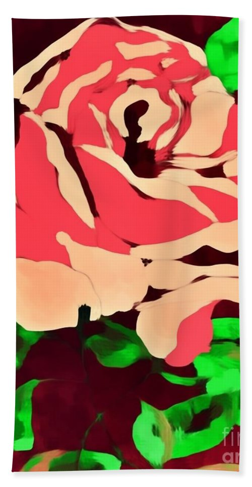 Pink Rose Impression Bath Sheet featuring the painting Pink Rose Impression by Saundra Myles