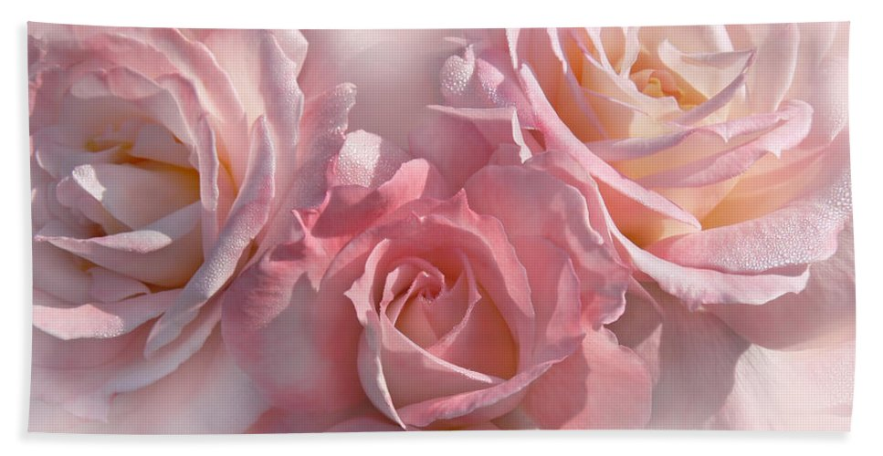 Rose Bath Sheet featuring the photograph Pink Roses In The Mist by Jennie Marie Schell