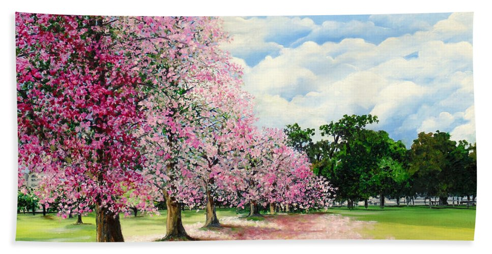 Pink Poui Trees Hand Towel featuring the painting Pink Savannah Poui by Karin Dawn Kelshall- Best