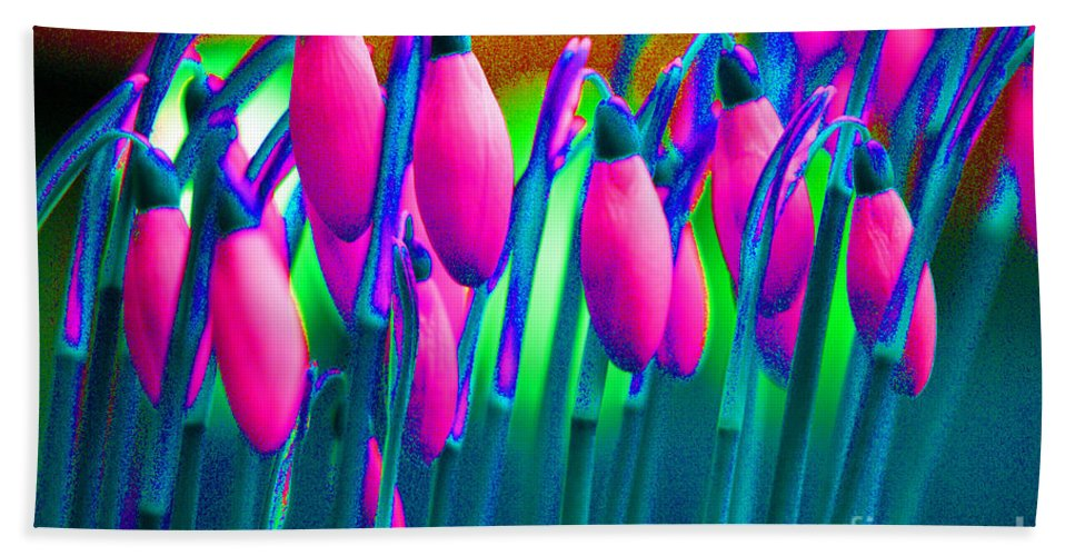 Pink Hand Towel featuring the digital art Pink Snowdrops by Carol Lynch