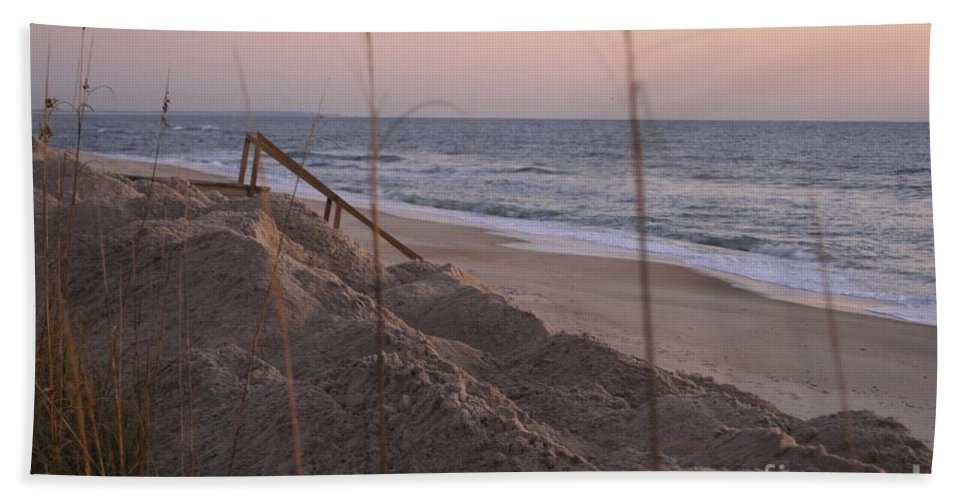 Pink Bath Sheet featuring the photograph Pink Sunrise On The Beach by Nadine Rippelmeyer