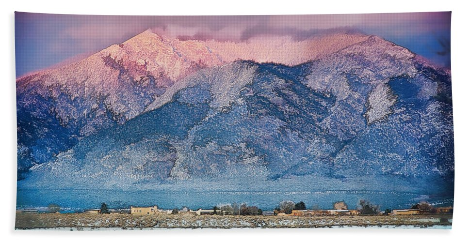 Santa Hand Towel featuring the mixed media Pink Sunset On Taos Mountain by Charles Muhle
